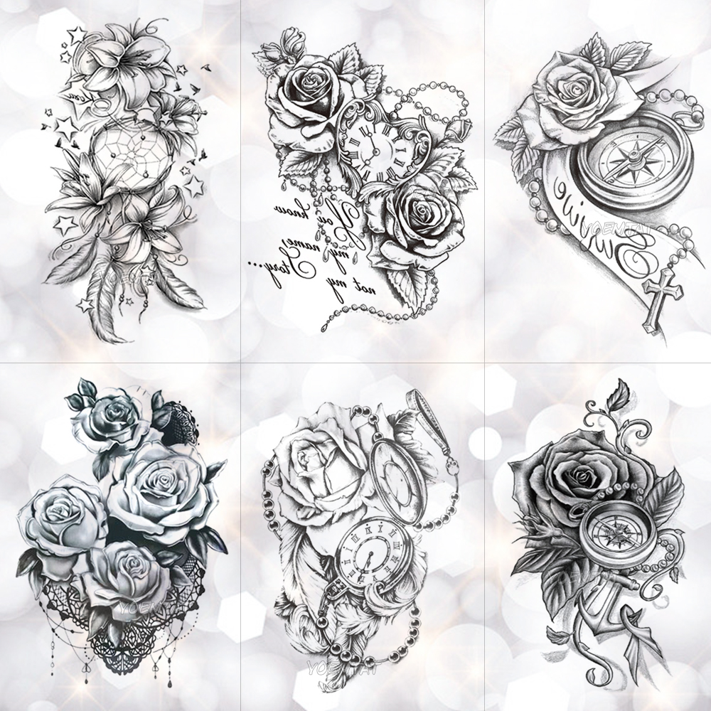 Rose Lace Crystal Clock Waterproof Temporary Tattoo Sticker Star Lily Feather Flash Tattoos Body Art Arm Fake Tatoo