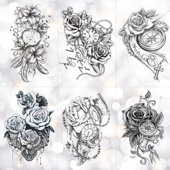 Rose Lace Crystal Clock Waterproof Temporary Tattoo Sticker Star Lily Feather Flash Tattoos Body Art Arm Fake Tatoo Buy At The Price Of 0 84 In Aliexpress Com Imall Com