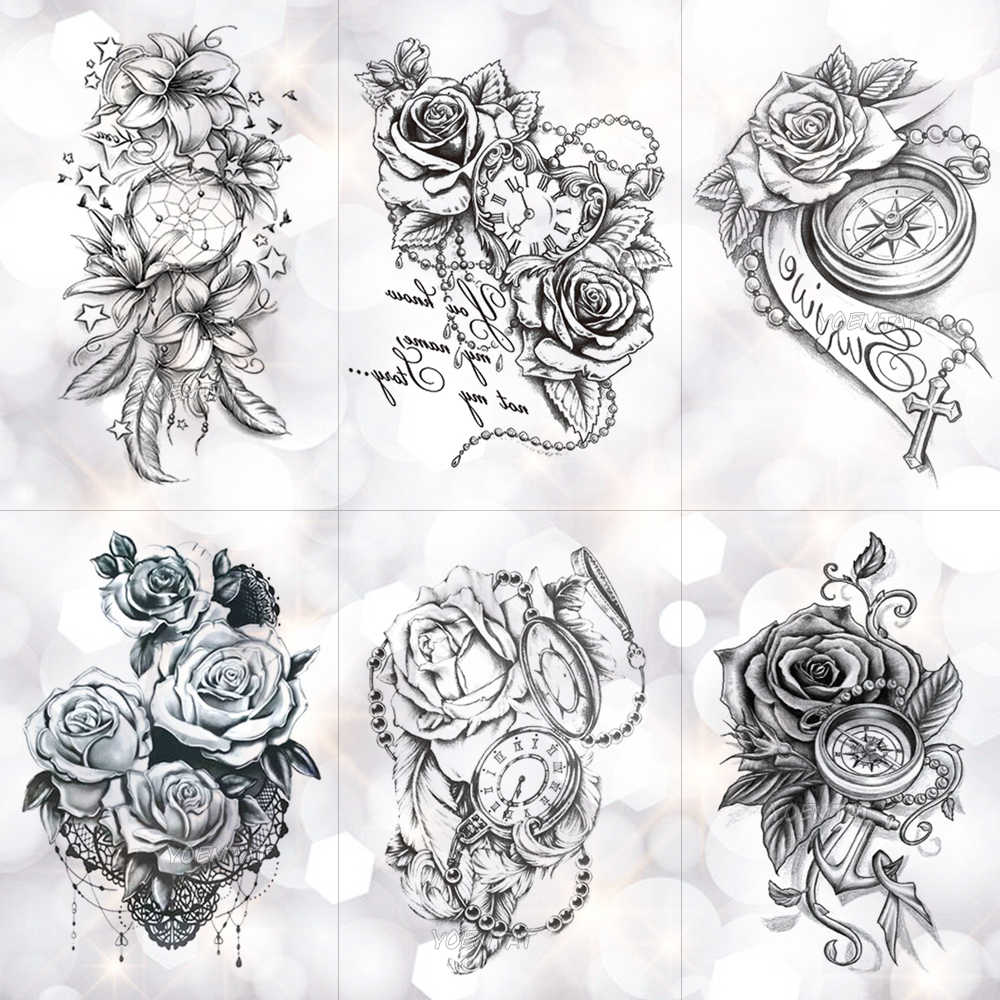 fabdf4268c8d1 Detail Feedback Questions about Rose Lace Crystal Clock Waterproof  Temporary Tattoo Sticker Star Lily Feather Flash Tattoos Body Art Arm Fake  Tatoo on ...