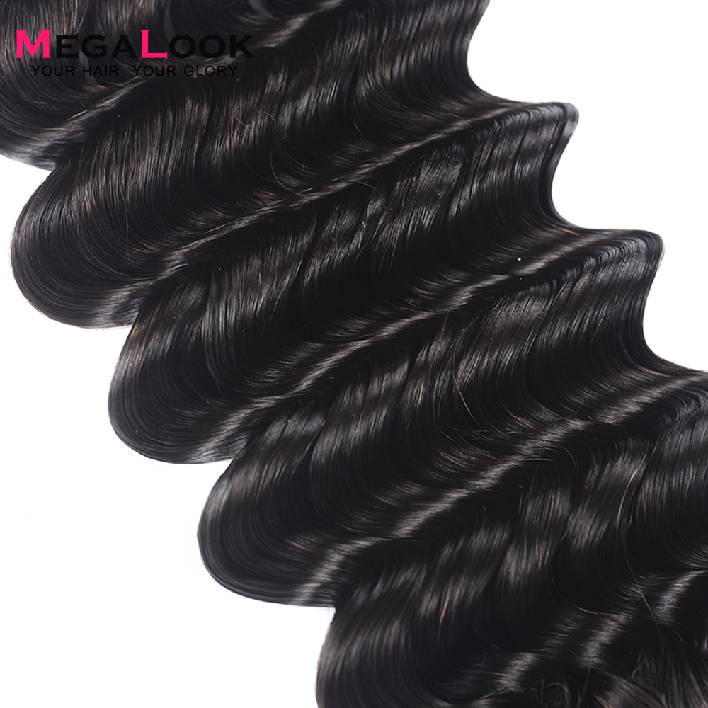 Megalook 3 pcs/lot paquets de vague profonde brésilien Double tiré vierge paquets de cheveux non transformés armure 100% Extension de cheveux humains - 3
