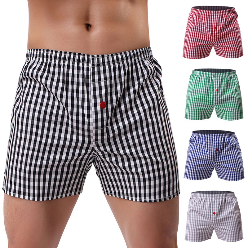 Panties Boxer Shorts Arrow Mens Underwear Classic Loose Cotton Trunks Elastic Woven Plaid