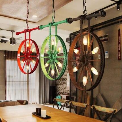 vintage iron water pipe pendant lights creative bicycle wheel suspension lamp industrial loft. Black Bedroom Furniture Sets. Home Design Ideas
