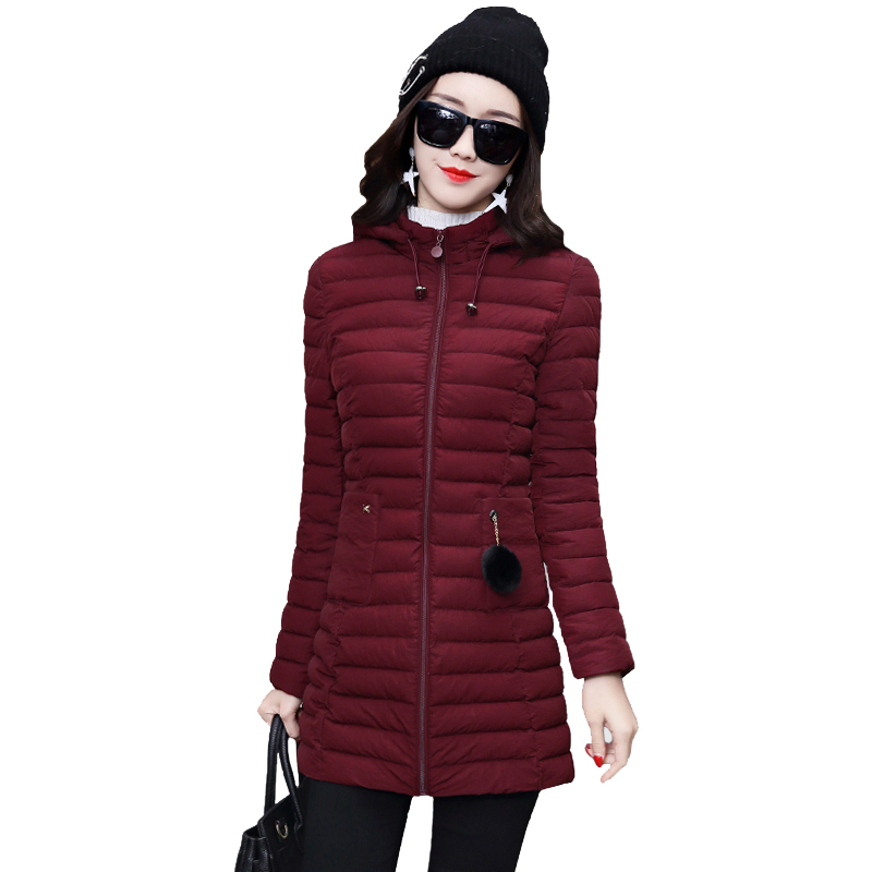2017 hooded slim big size 4XL 5Xl winter jacket women long solid color black cotton padded womens coat parka casacos de inverno