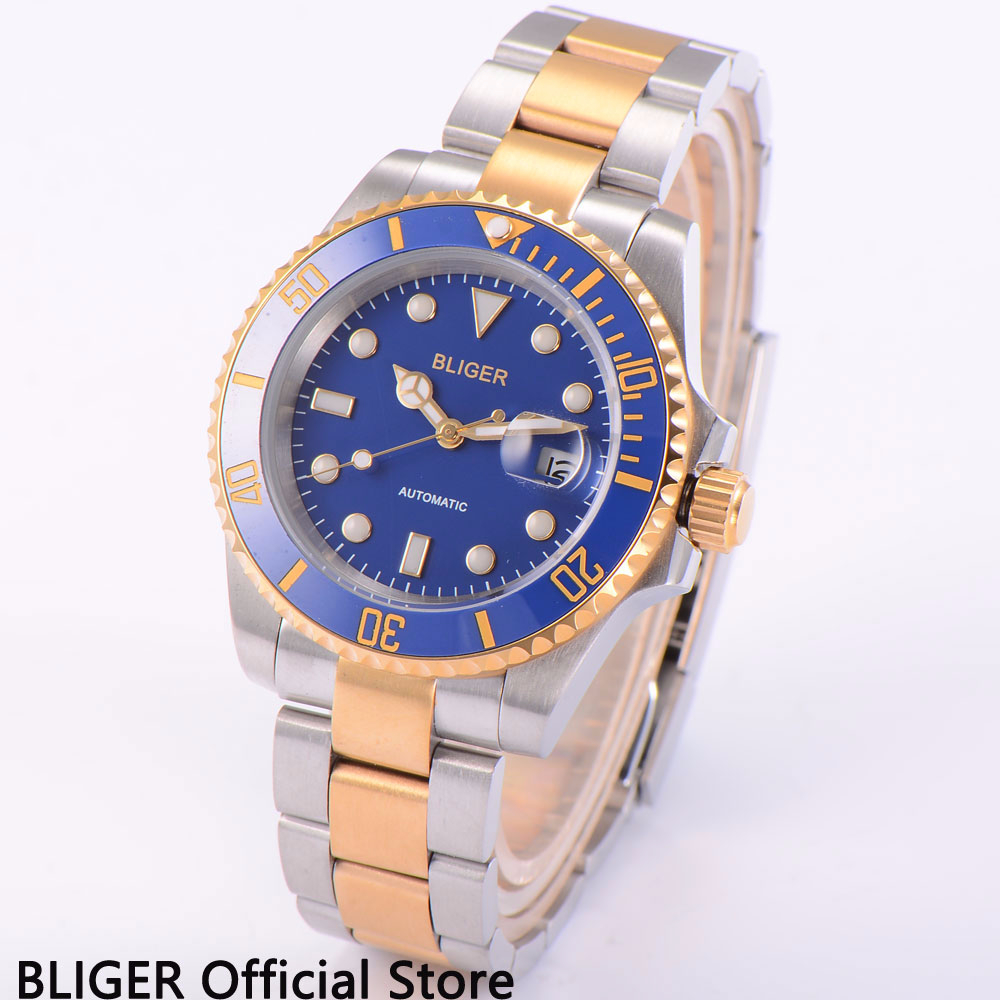 Sapphire Crystal BLIGER 40MM Blue Dial Men s Watch Ceramic Bezel Gold Plated Stainless Steel Case