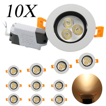 10X Downlight Recessed Ceiling Wall Floodlight Lamp New Arrival 3W AC85-265V LED Light Spot Light Panel BulD LED Driver For Home