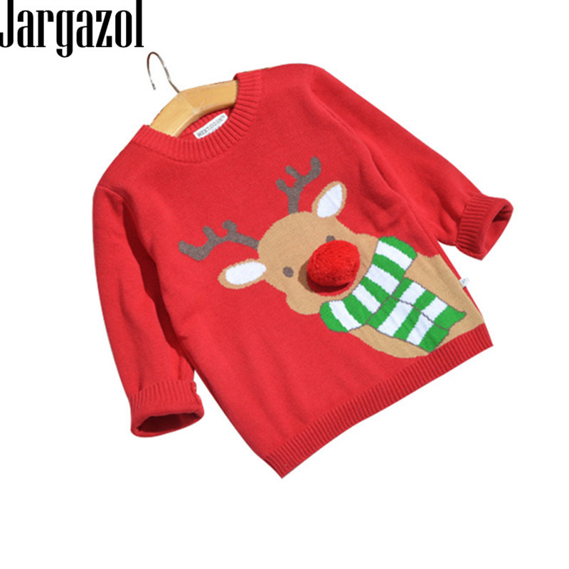 Jargazol Boys Girls Sweaters Winter 2018 Toddler Baby Clothes with Deer Kids Christmas Sweater Embroidery Pull Fille Tops deer embroidery tee