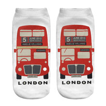 Hot 2017 Popular socks Personality 3D London Bus Parrent Sock New Unisex Polyester Fashion 19*8cm Sock Women Socks for Gifts(China)
