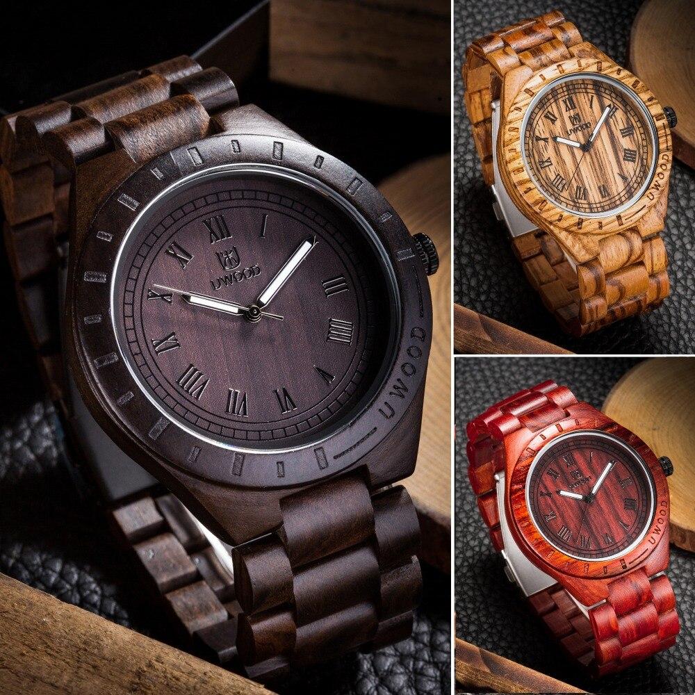 все цены на Newest Arrival Men's Wood Wristwatch Luxury Brand UWOOD 1001A Classic Folding Clasp Quartz Movement Wrist Watch with Wood Strap