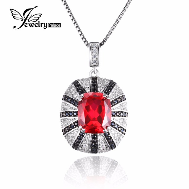 JewelryPalace 6ct Pigeon Blood Created Ruby Pendant  Real Pure 925 Solid Sterling Silver Emerald Cut High Quality Gift For Women