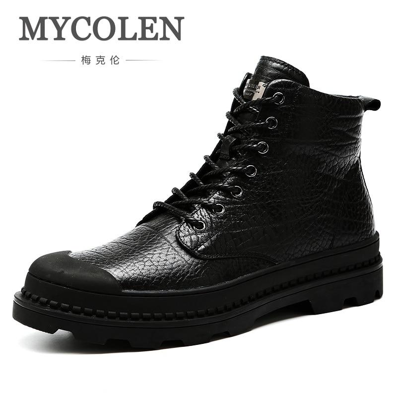 MYCOLEN Autumn/Winter Men High Quality Brand Leather Boots Outdoor Black Brown Warm Cashmere Snow Boots Schoenen Mannen snow boots free delivery of autumn and winter high quality 100