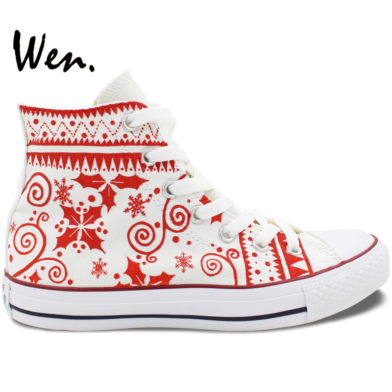 ФОТО Wen Design Custom Hand Painted Shoes Red Christmas Pattern Man Woman's High Top Canvas Sneakers for Men Women