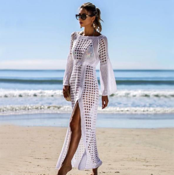 2019 Hot Women Hollow Knitted Beach Long Sleeve Bikini Cover Up Lady See-through Mesh Swimwear Beachwear Maxi Holiday Dress