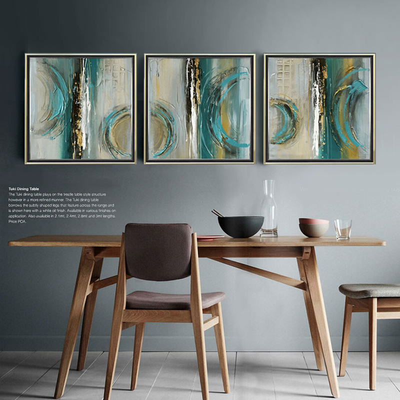 Modern abstract painting square 3 piece canvas art