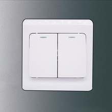 2 Gang 1 Way Wall Light Switch Socket with Led Light Brushed White Panel Push Button Rocker Switch Interrupteur 10A AC 110~220V 5 poles 10a 2p us 3p au wall switch socket with double 2 way dual 2 gang push button