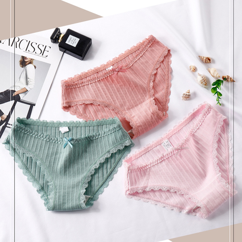 Autumn and winter new female   Panties   cotton waist large size cute comfortable briefs female elastic breathable underwear women