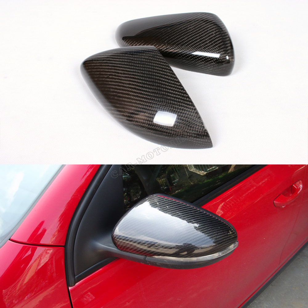 Car Styling Carbon fiber Side Mirror Covers caps for VW Golf MK6 GTI R20 2010-2013 real carbon fiber mirror cover case for vw golf 7 mk7 gti tsi vii jdm 2013 2015 [1031001]