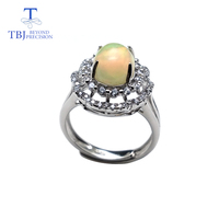 TBJ,100% Natural Ethiopia opal oval 8*10mm 2.8ct gemstone ring in 925 sterling silver precious stone jewelry with gift box.
