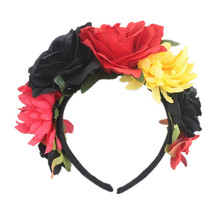 Female Hawaiian Stretch Rose Flower Floral Crown for Garland Party  Day of The Dead hairband Costume Mexican Headpieces