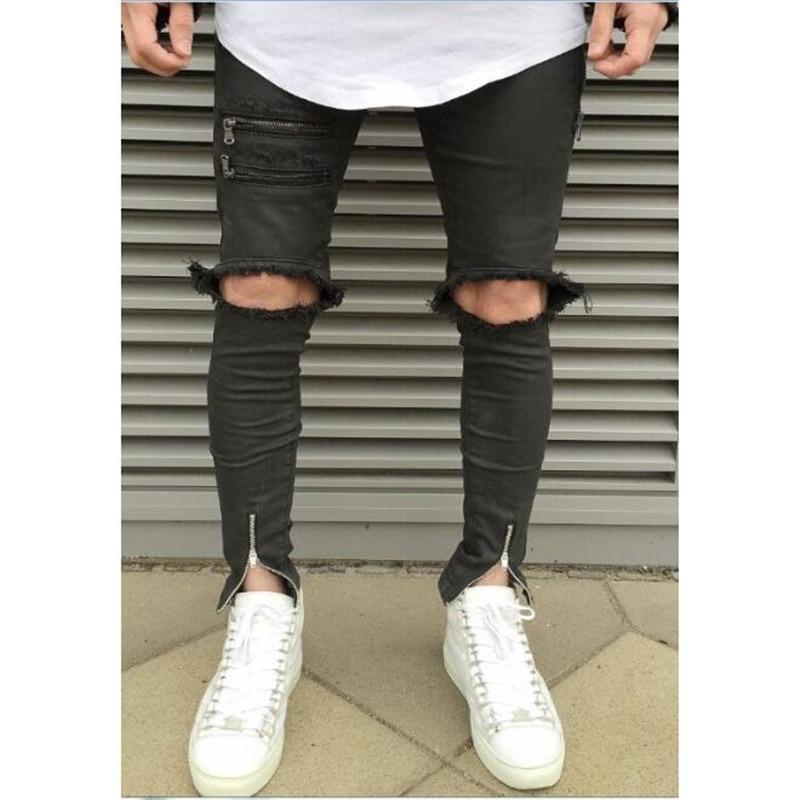 Caviglia design cerniera Hi-Street Mens Nero Jeans Strappati Uomini Moda Maschile Used Skinny Jeans Destroyed Denim Jeans Pantal