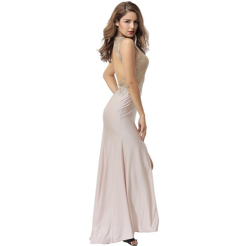 d4d6c249147 Comeonlover Floral Mesh Lace Sleeveless Party vestido VI1072 Apricot  Mermaid Floor Length Maxi Dress Front Slit Backless Dress Detail Show