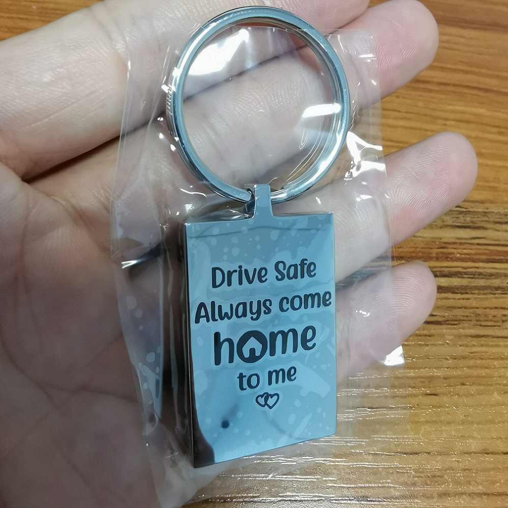 """LJK001 personnalisé porte-clés blanc ton argent en acier inoxydable mode porte-clés pour hommes femmes """"Drive Safe"""""""