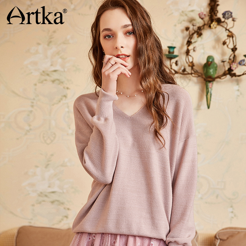 ARTKA 2018 Autumn New Women Solid Pullovers V neck Full Sleeve All match Sweater YB10781Q-in Pullovers from Women's Clothing    2