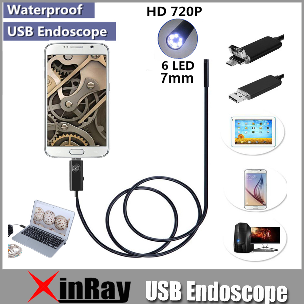 XinFly 2in1 Endoscope Micro USB Endoscope pour Andriod Téléphone et PC 7mm Dia HTA7 6LED 60 Degré Ange IP67 inspecition Endscope