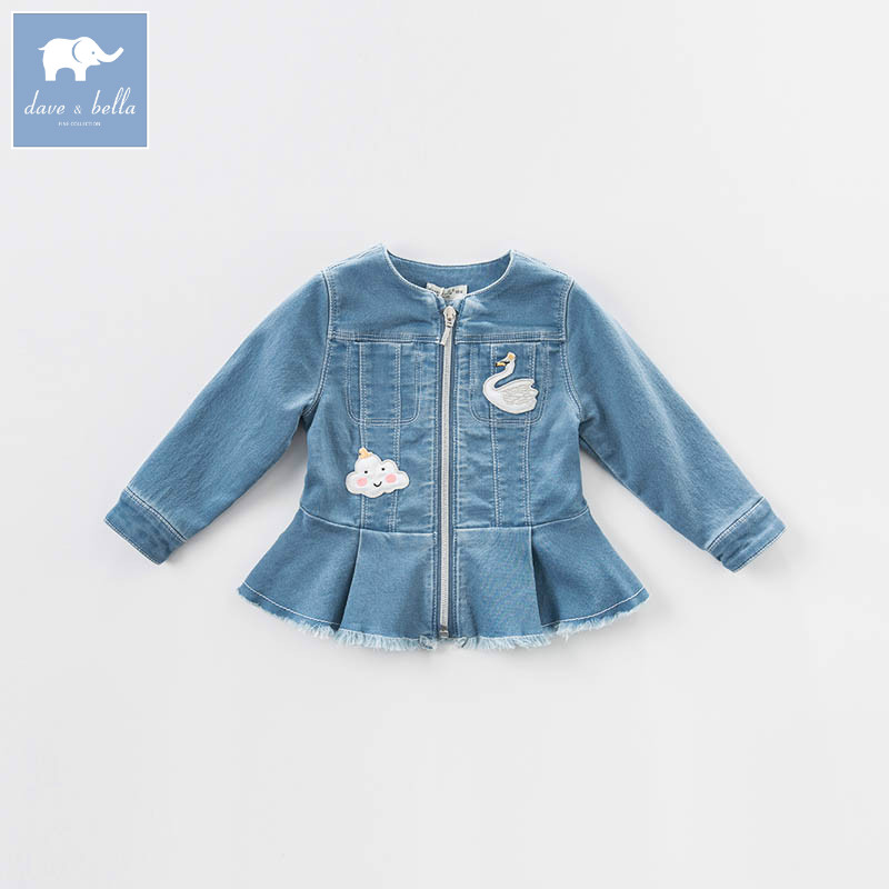 DB7031 dave bella spring baby girls denim jacket kids infant denim coat children toddler high quality clothes купить в Москве 2019