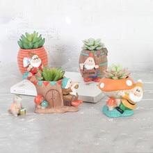 Cartoon Cute Totoro Flower Pot Farmhouse Decor Resin Creative Crafts Planters Home Office Garden Succulent Plant Pot