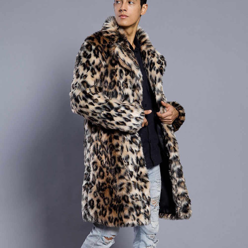 Feitong ฤดูหนาวแจ็คเก็ตบุรุษเสือดาวหนาขนสัตว์เสื้อแจ็คเก็ต Faux Fur Parka Outwear jaqueta masculina