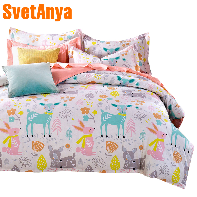 Svetanya Doona Duvet Cover Pillowcases Deer Cartoon Kids Adults Bedding Sets Twin Full Queen