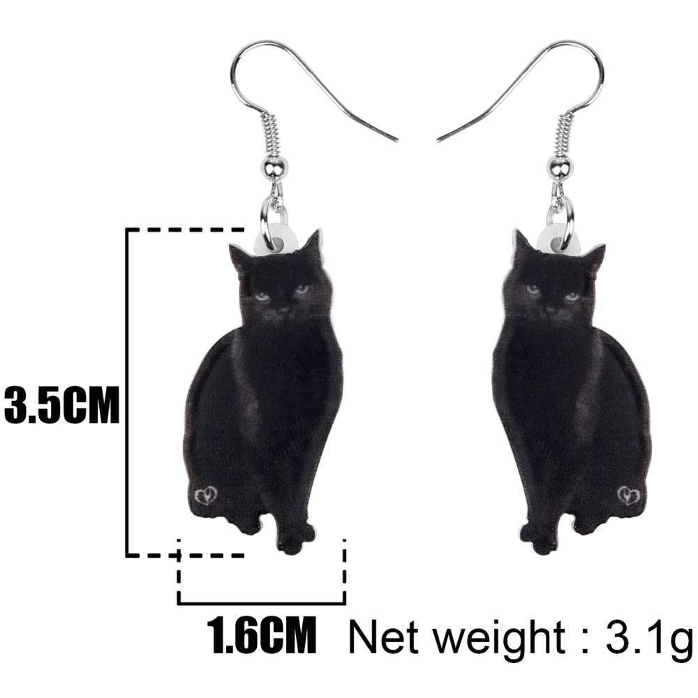 Bonsny Acrylic น่ารักสีดำ Cat ต่างหูตุ้มหูคลิปแฟชั่นสัตว์เลี้ยงเครื่องประดับสำหรับวัยรุ่นหญิงของขวัญตกแต่ง