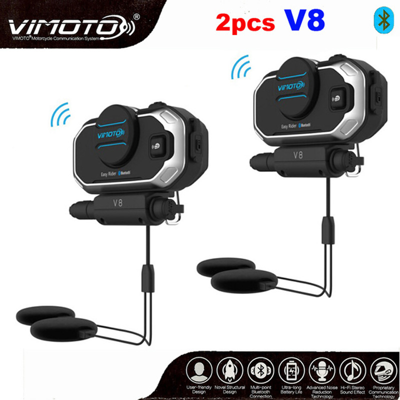 2pcs Vimoto V8 850mAh Motorcycle Multi functional Helmet Bluetooth Headset Motorbike Stereo Headset For Two Way