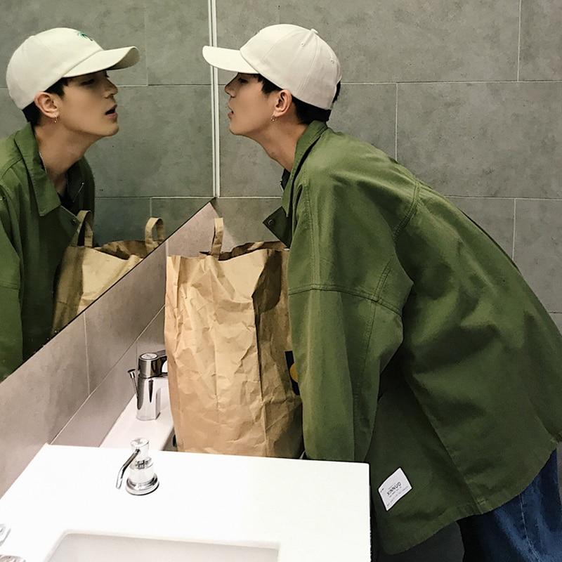 2018 Taille Cargo Vestes khaki Laine Coton M Lâche À Manteaux La Coupe xl Black Mode Streetwear Vêtements vent Green army Hommes Revers Casual Marque Plus Col De RFYWwRq7r