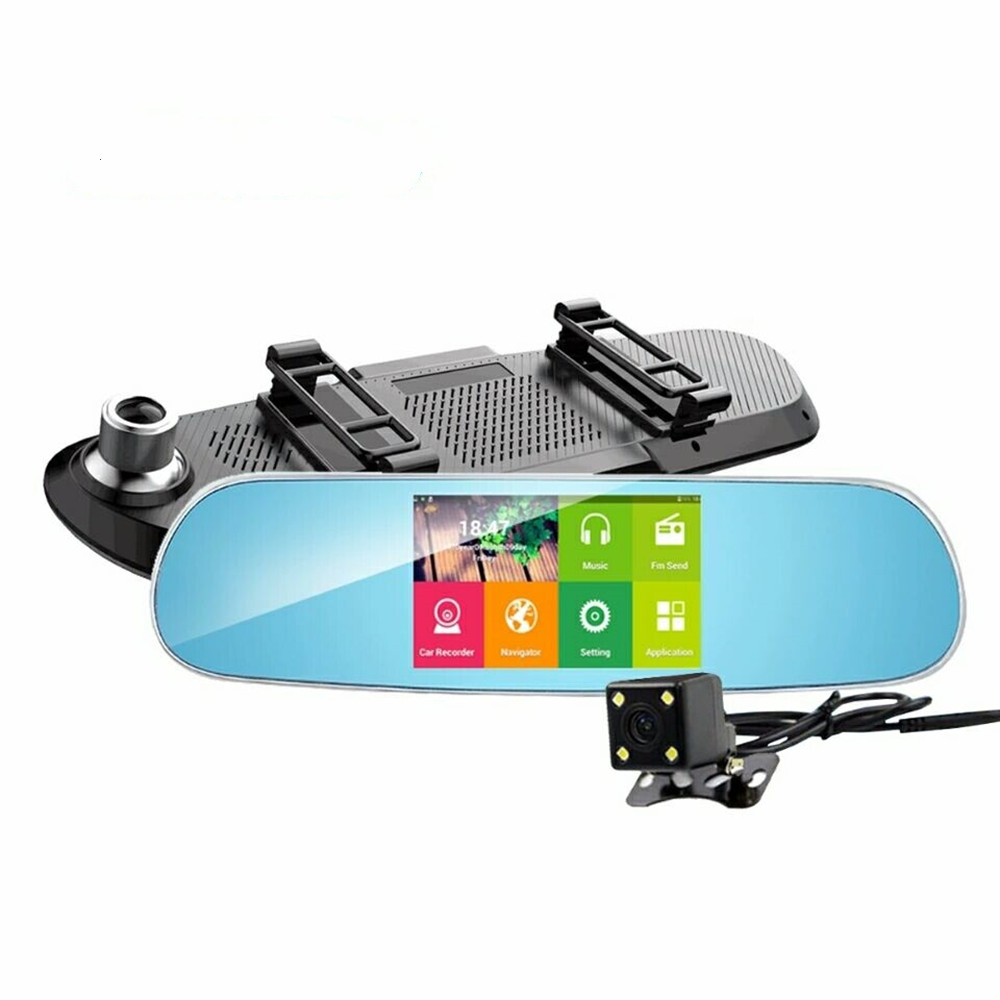 Relaxgo 5car dvr gps navigation android touch rearview mirror video recorder 1080p car camera wifi parking dual lens dash cam 2016 new 5 0 touch android bluetooth dash camera parking car dvr rearview mirror video recorder vehicle gps navigator free maps