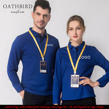 Custom Embroidered polo shirt with your own text customized high quality uniform long sleeve for company staff work wear