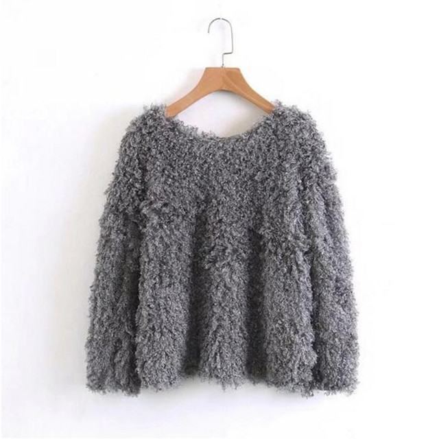 bcbcc6ba8e Causal Shaggy Long Curly Hairy Sweater Gray Autumn New Woman Solid Color Long  sleeve Loose Knitted Pullover Knitwear