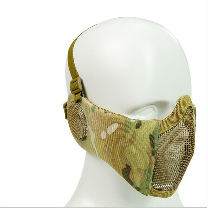 Airsoft Half Face Mask Adjustable Tactical Metal Mesk Protection ear protect Outdoor Tactical CS Survival War Game Application sw2009 tactic war game protective abs half face mask army green