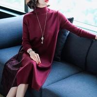 European New Pattern Woman Long Sleeve Knitting Women Summer Fashion Dress Long Sweater Skirt Overknee Dresses Big Sizes