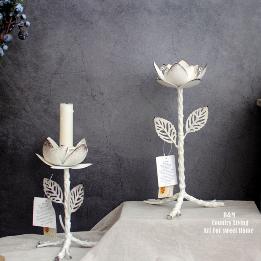 Votive White Metal Candle Holder Flower Decor Wrought Iron Table Centerpieces Candelabra Portavela Center Pieces Lighthouse 5257 in Candle Holders from Home Garden