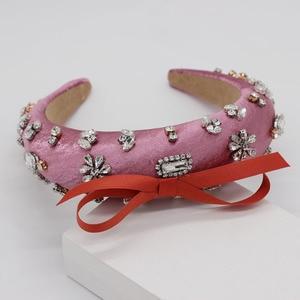 Image 2 - Baroque fashion luxury ball headband rhinestone bow headband headband hair band female girl hair accessories 965