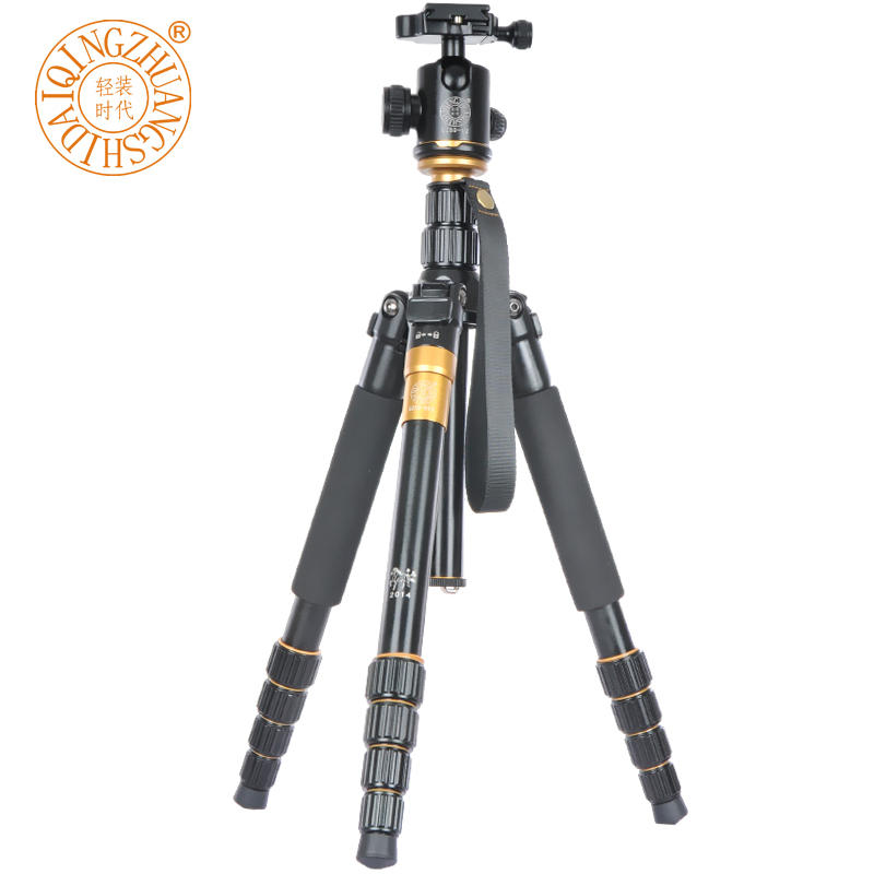 Q-666 Professional Portable Digital Camera  DV Aluminium Alloy Tripod Monopod +Q-02 Ball Head 35-156CM Max Load 15KG