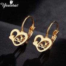 Yiustar Cute Heart Earrings for Women Girls Kids Jewelry Romantic Stainless Steel Stud Love Ear Earing Pendients