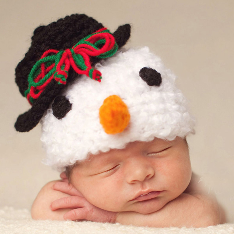 Handmade Newborn Baby Snowman Beanie Hat Crochet Funny Winter Children Hat Infant Knitted Cap Christmas Gift 1pc H001