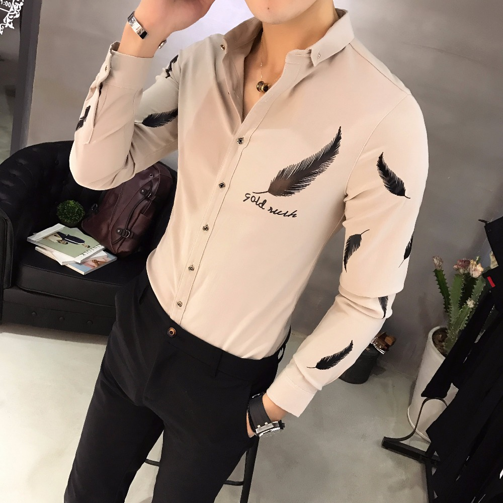 bb03fdfd6d6 Camisa Social Slim Fit Casual Black Shirts Outfits Club Pink Shirts Mens  Fitted White Shirts Feather Korean Fashionable Man-in Casual Shirts from  Men s ...