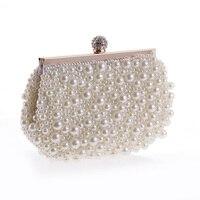 Women Hot Wedding Shoulder Chain Bridal Bag Clutch Purse Mini Handbag Beaded Imitation Pearls Full Side