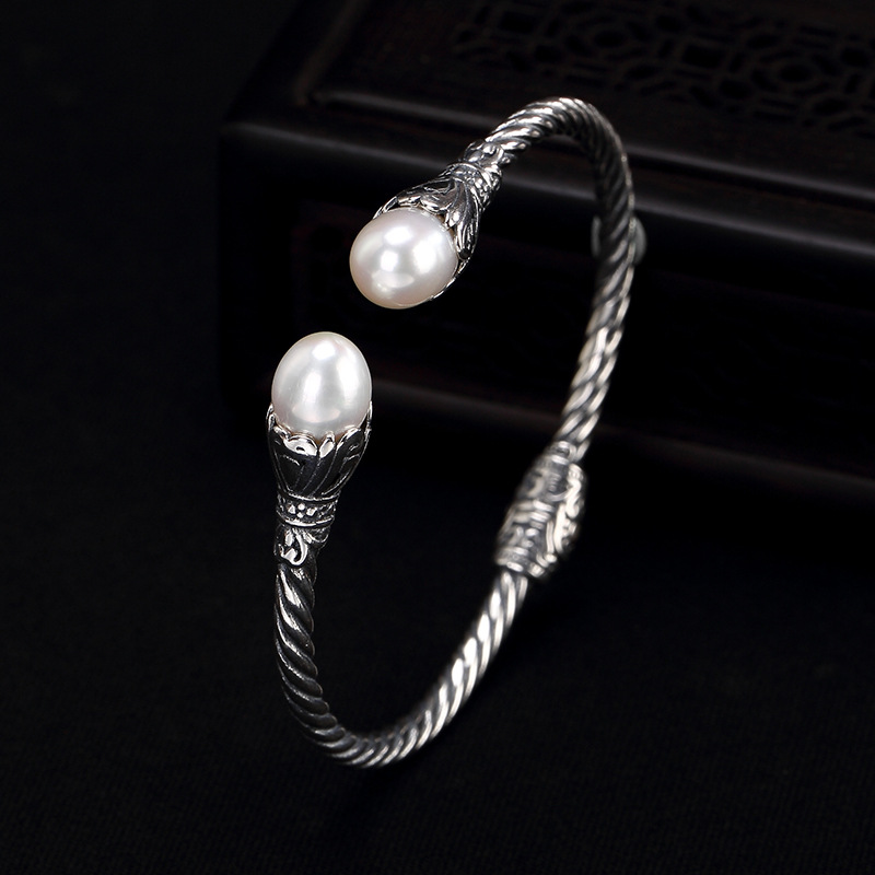 Silver S925 Pure Silver Natural Pearl Retro Personality s925 pure silver personality female models new beeswax