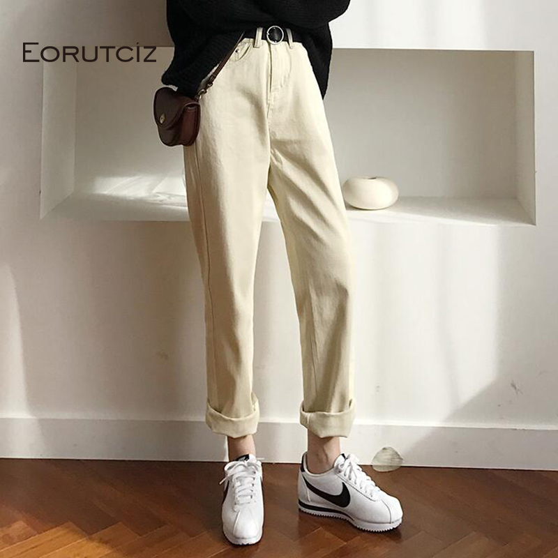 EORUTCIZ Spring Loose  jeans Women High Waist Denim Wide Leg Pants Female Vinatge Pocket Pant Black Trousers LM210 pocket