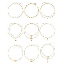 9 Pcs/ Set Handmade Multi-layer Pendant Necklace Set Ladies Adjustable Moon Star Geometric Chain Necklace Women A018