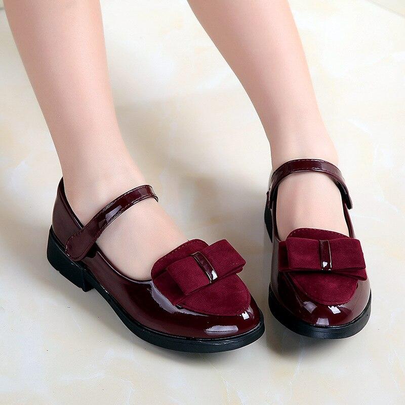 Girls Leather Shoes For Children Wedding Dress Princess School Shoes Kids Summer Bow-knot Black Student Sandals Korean Fashion
